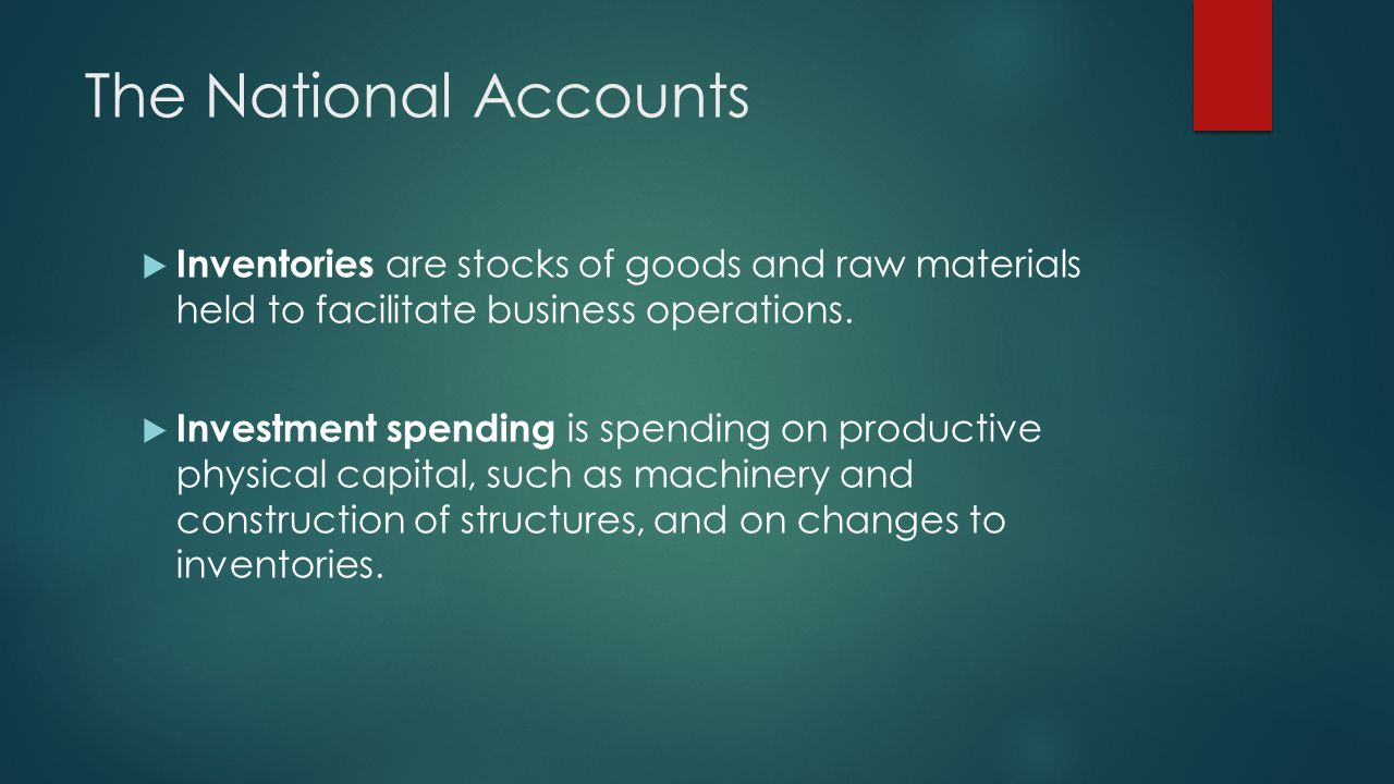 The National Accounts Inventories are stocks of goods and raw materials held to facilitate business operations. Investment spending is spending on pro