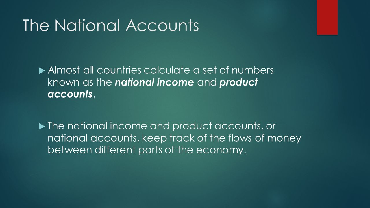 The National Accounts Almost all countries calculate a set of numbers known as the national income and product accounts. The national income and produ