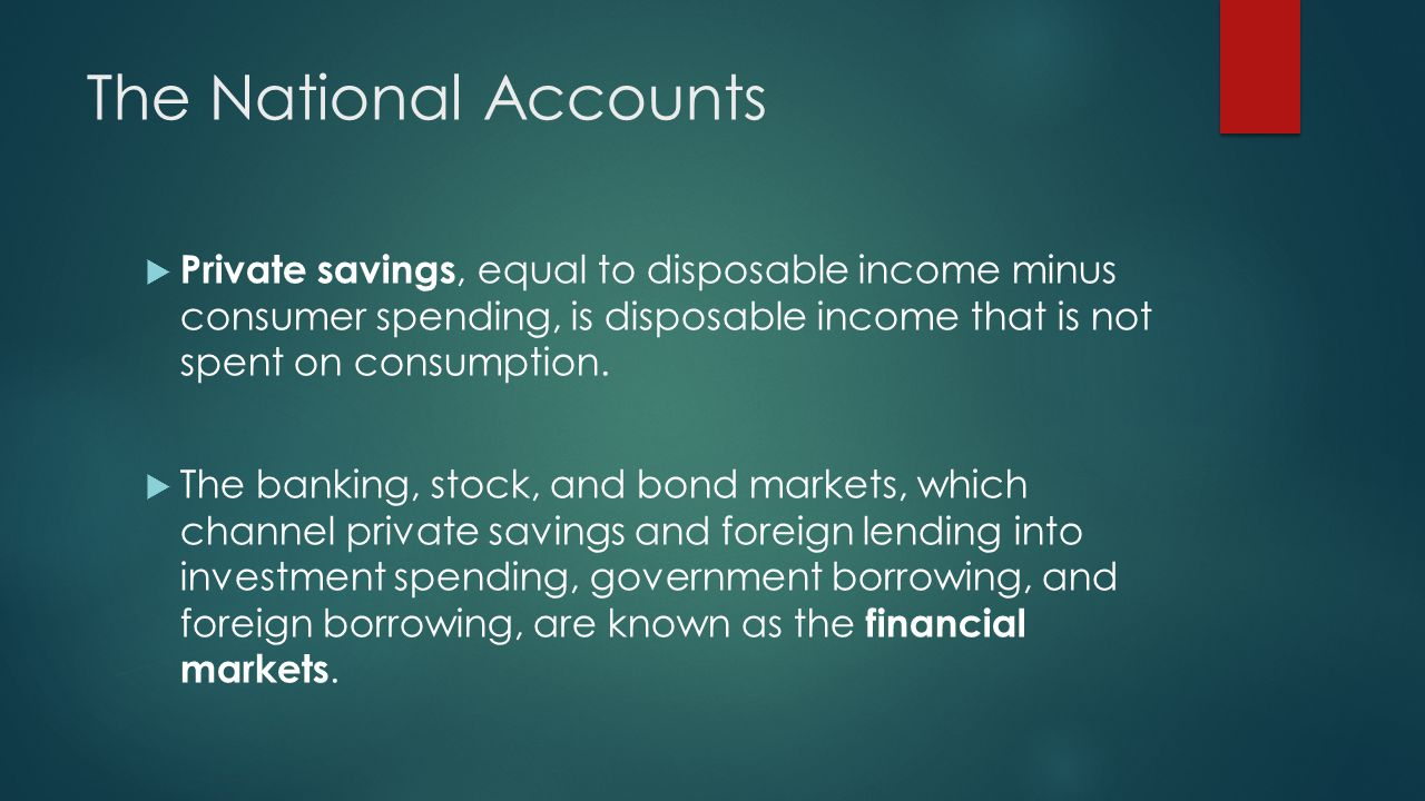 The National Accounts Private savings, equal to disposable income minus consumer spending, is disposable income that is not spent on consumption. The