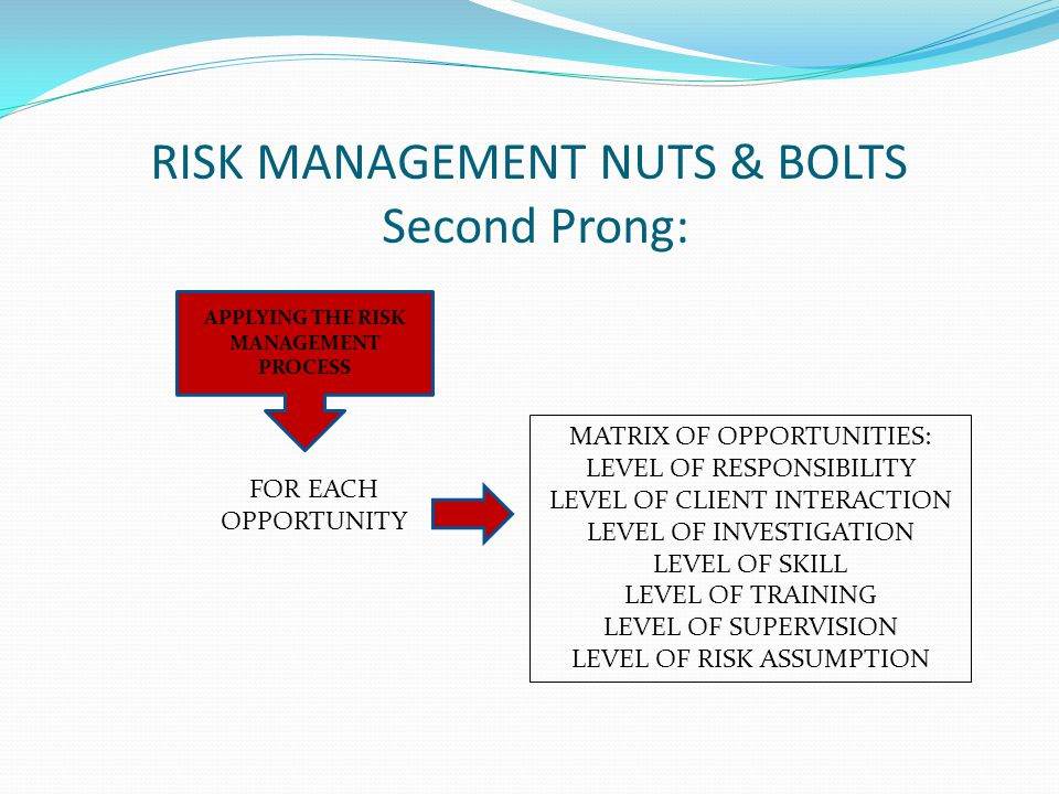 RISK MANAGEMENT NUTS & BOLTS Second Prong: APPLYING THE RISK MANAGEMENT PROCESS FOR EACH OPPORTUNITY MATRIX OF OPPORTUNITIES: LEVEL OF RESPONSIBILITY LEVEL OF CLIENT INTERACTION LEVEL OF INVESTIGATION LEVEL OF SKILL LEVEL OF TRAINING LEVEL OF SUPERVISION LEVEL OF RISK ASSUMPTION