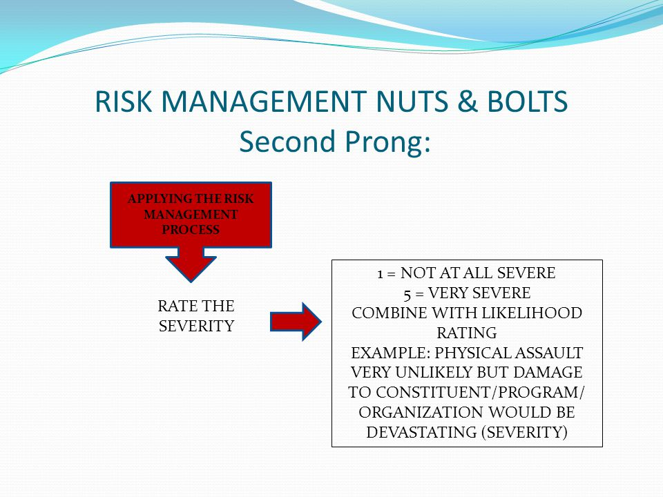 RISK MANAGEMENT NUTS & BOLTS Second Prong: APPLYING THE RISK MANAGEMENT PROCESS RATE THE SEVERITY 1 = NOT AT ALL SEVERE 5 = VERY SEVERE COMBINE WITH LIKELIHOOD RATING EXAMPLE: PHYSICAL ASSAULT VERY UNLIKELY BUT DAMAGE TO CONSTITUENT/PROGRAM/ ORGANIZATION WOULD BE DEVASTATING (SEVERITY)