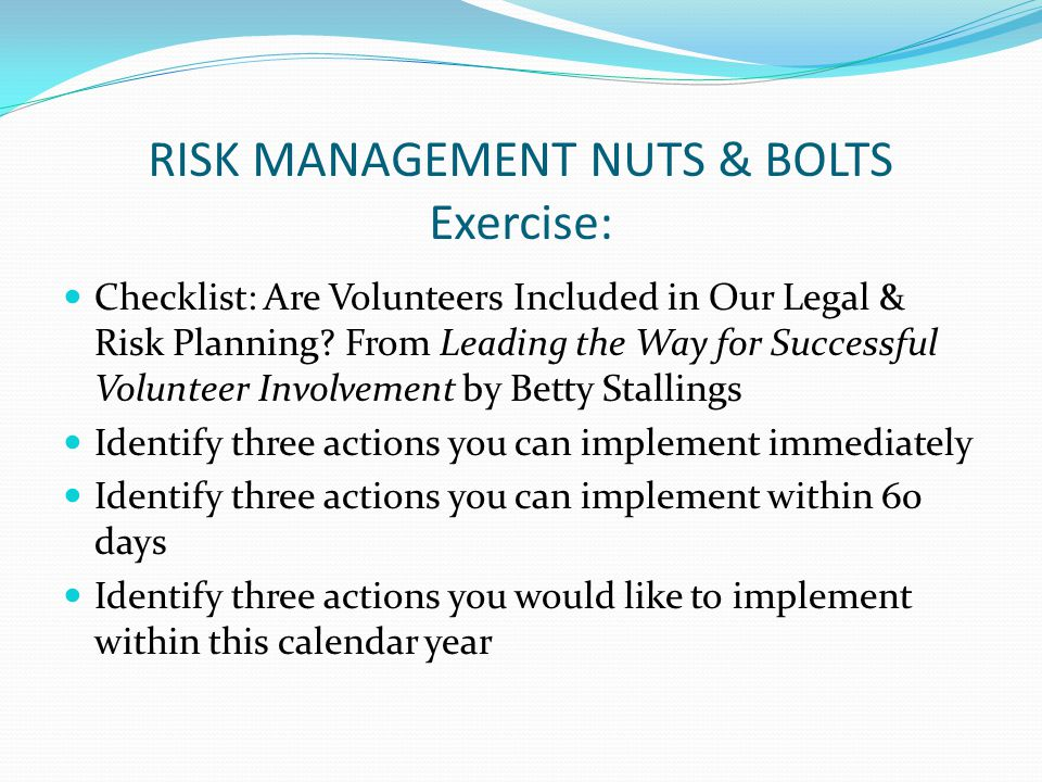 Checklist: Are Volunteers Included in Our Legal & Risk Planning.