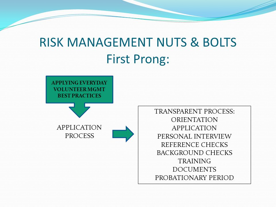 RISK MANAGEMENT NUTS & BOLTS First Prong: APPLYING EVERYDAY VOLUNTEER MGMT BEST PRACTICES APPLICATION PROCESS TRANSPARENT PROCESS: ORIENTATION APPLICATION PERSONAL INTERVIEW REFERENCE CHECKS BACKGROUND CHECKS TRAINING DOCUMENTS PROBATIONARY PERIOD