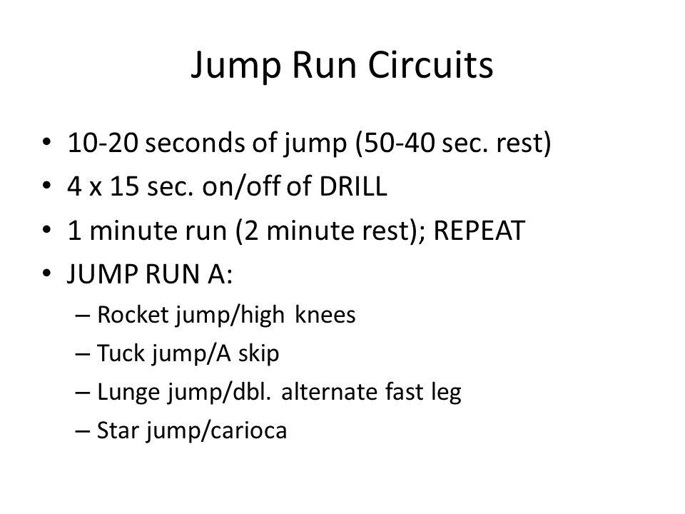 Jump Run Circuits 10-20 seconds of jump (50-40 sec. rest) 4 x 15 sec. on/off of DRILL 1 minute run (2 minute rest); REPEAT JUMP RUN A: – Rocket jump/h