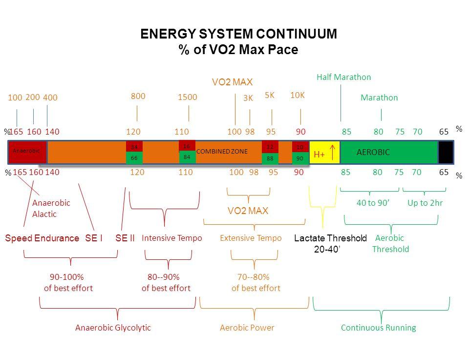 ENERGY SYSTEM CONTINUUM % of VO2 Max Pace 165 160 140 120 110 100 98 95 90 85 80 75 70 65 Marathon Aerobic Threshold 165 160 140 120 110 100 98 95 90