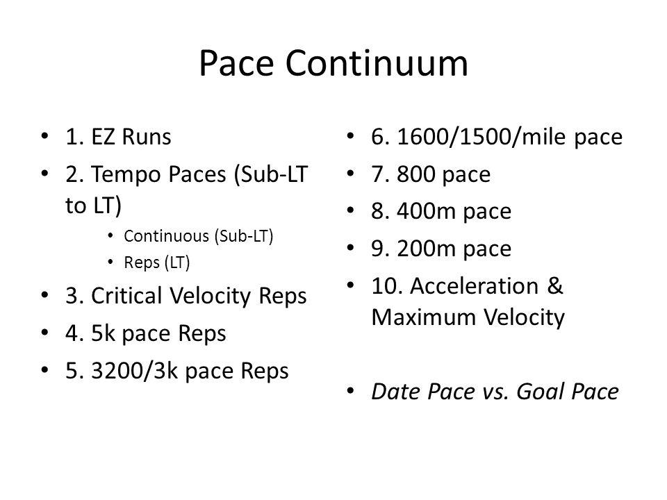 Pace Continuum 1. EZ Runs 2. Tempo Paces (Sub-LT to LT) Continuous (Sub-LT) Reps (LT) 3. Critical Velocity Reps 4. 5k pace Reps 5. 3200/3k pace Reps 6
