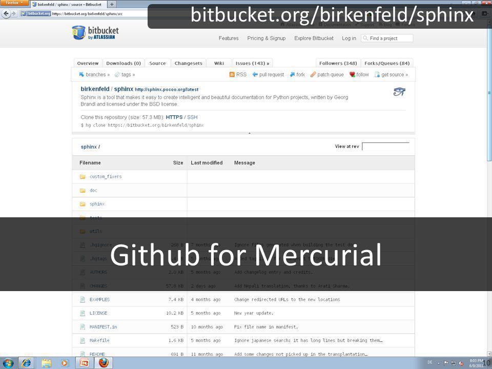 Github for Mercurial bitbucket.org/birkenfeld/sphinx 10