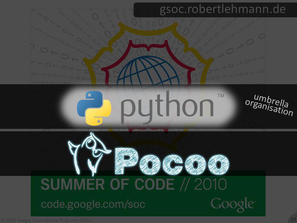 © 2010 Google Open Source Programs Office gsoc.robertlehmann.de 13 umbrella organisation