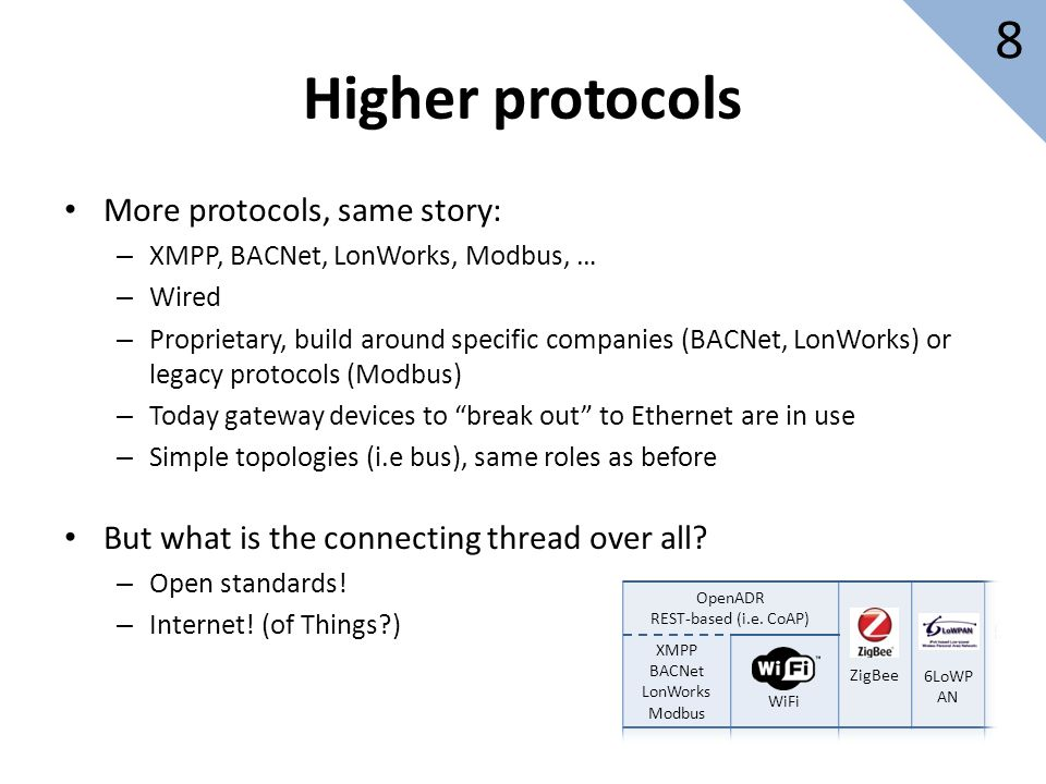 More protocols, same story: – XMPP, BACNet, LonWorks, Modbus, … – Wired – Proprietary, build around specific companies (BACNet, LonWorks) or legacy protocols (Modbus) – Today gateway devices to break out to Ethernet are in use – Simple topologies (i.e bus), same roles as before But what is the connecting thread over all.