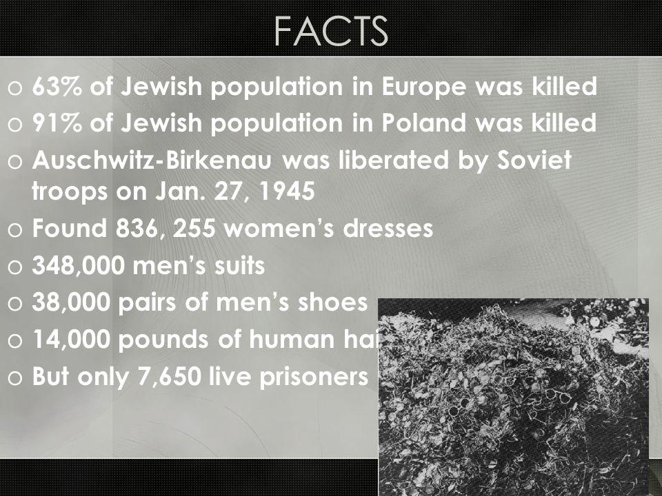 FACTS o 63% of Jewish population in Europe was killed o 91% of Jewish population in Poland was killed o Auschwitz-Birkenau was liberated by Soviet tro
