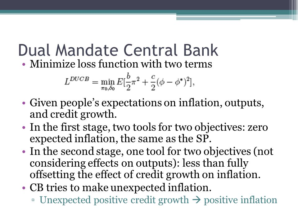 Dual Mandate Central Bank Minimize loss function with two terms Given peoples expectations on inflation, outputs, and credit growth.
