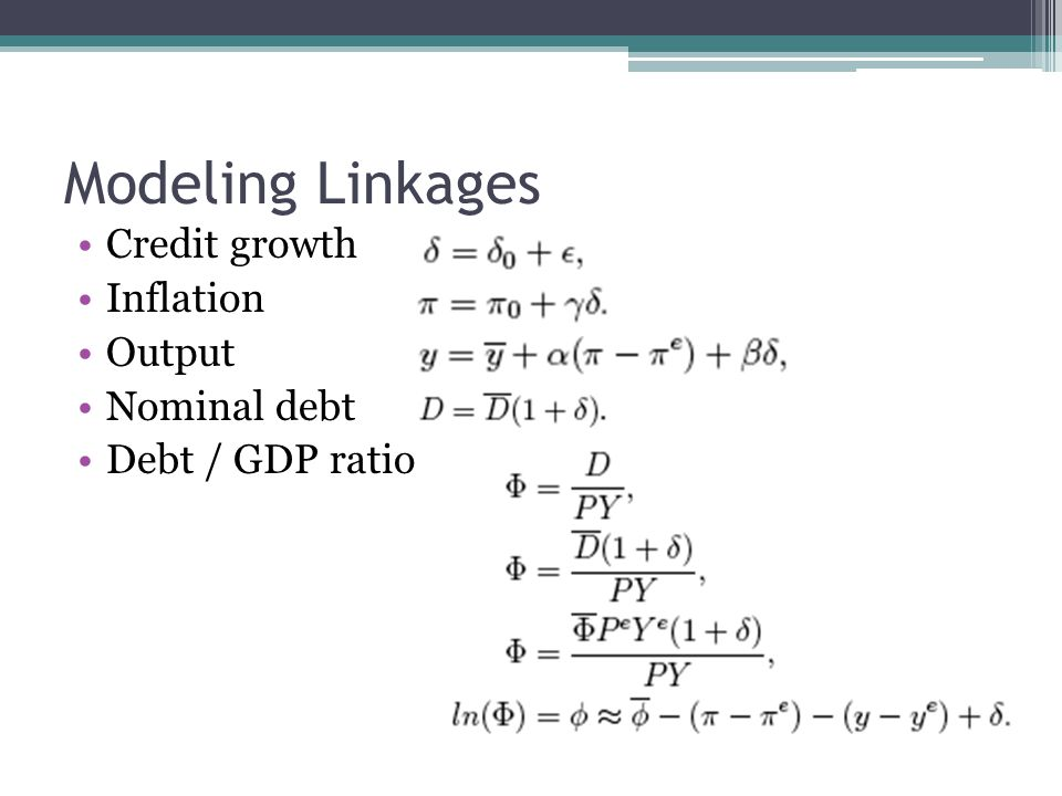 Modeling Linkages Credit growth Inflation Output Nominal debt Debt / GDP ratio