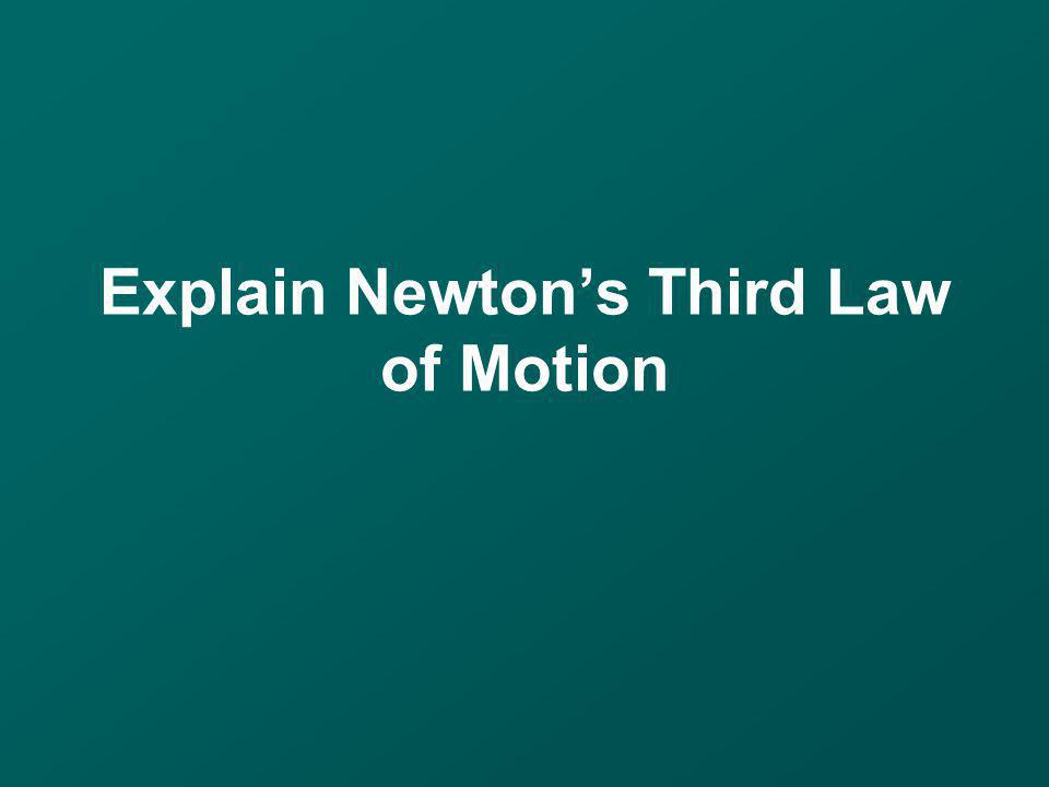 Explain Newtons Third Law of Motion
