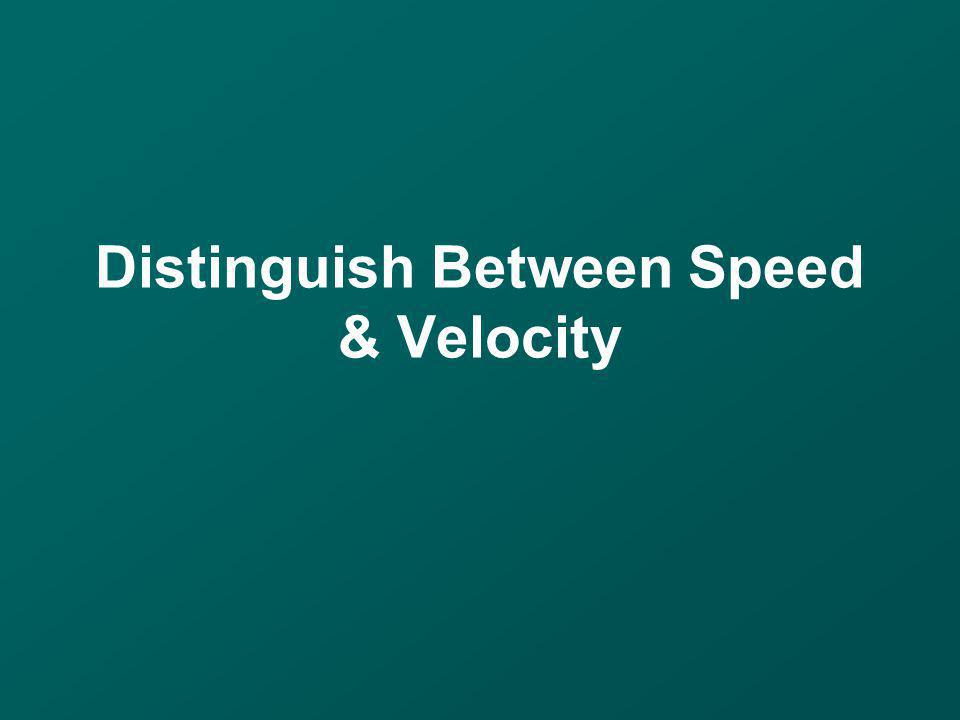 Distinguish Between Speed & Velocity