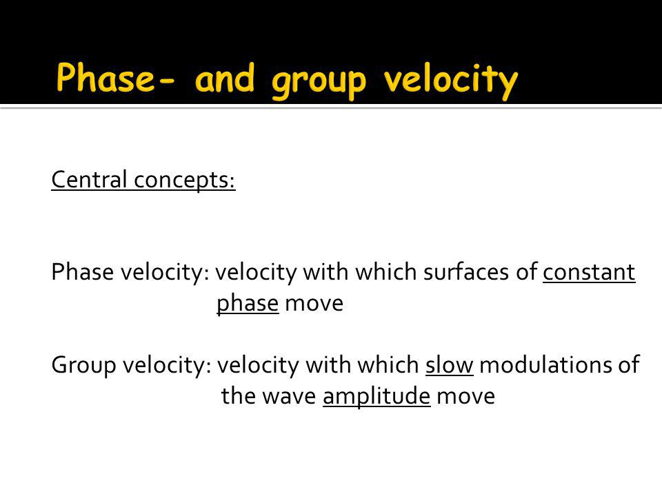 Central concepts: Phase velocity: velocity with which surfaces of constant phase move Group velocity: velocity with which slow modulations of the wave