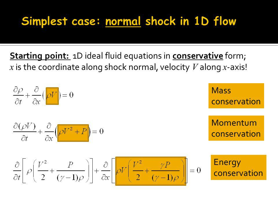 Starting point: 1D ideal fluid equations in conservative form; x is the coordinate along shock normal, velocity V along x -axis.