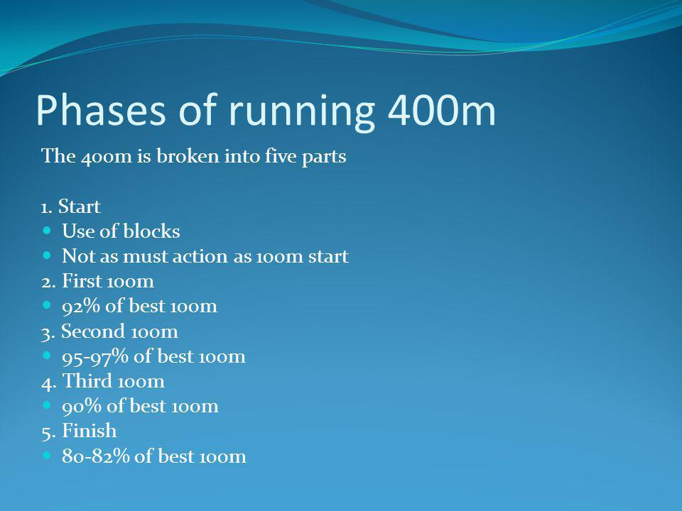 Phases of running 400m The 400m is broken into five parts 1. Start Use of blocks Not as must action as 100m start 2. First 100m 92% of best 100m 3. Se