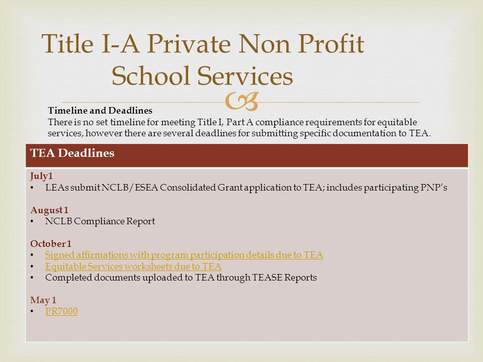 Title I-A Private Non Profit School Services Timeline and Deadlines There is no set timeline for meeting Title I, Part A compliance requirements for e