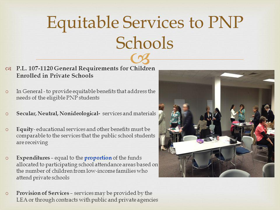 P.L. 107-1120 General Requirements for Children Enrolled in Private Schools o In General - to provide equitable benefits that address the needs of the