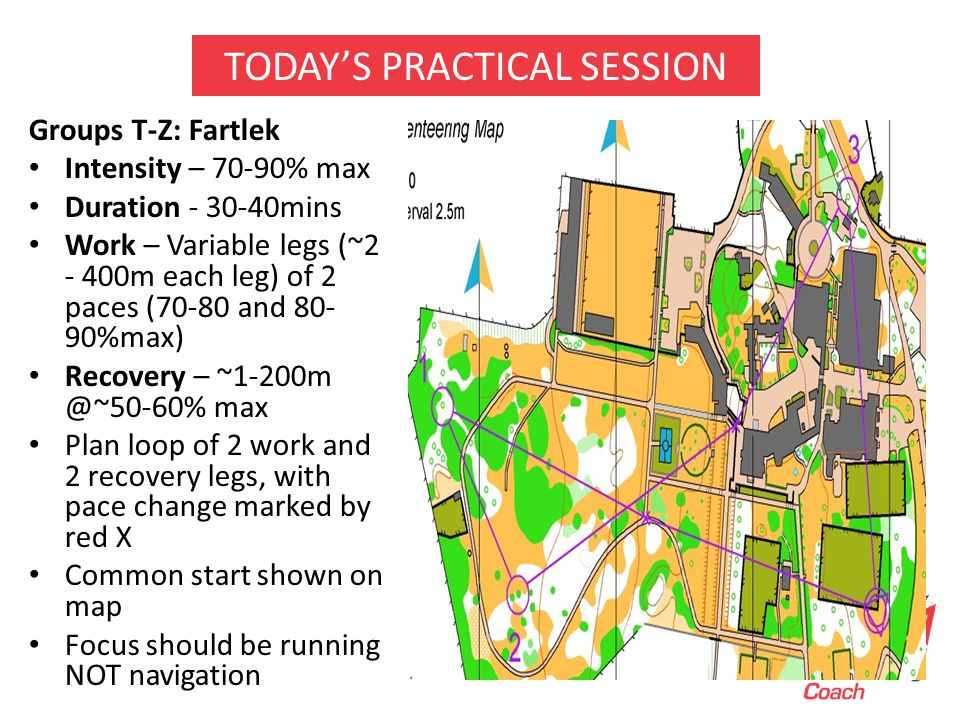 Groups T-Z: Fartlek Intensity – 70-90% max Duration - 30-40mins Work – Variable legs (~2 - 400m each leg) of 2 paces (70-80 and 80- 90%max) Recovery – ~1-200m @~50-60% max Plan loop of 2 work and 2 recovery legs, with pace change marked by red X Common start shown on map Focus should be running NOT navigation