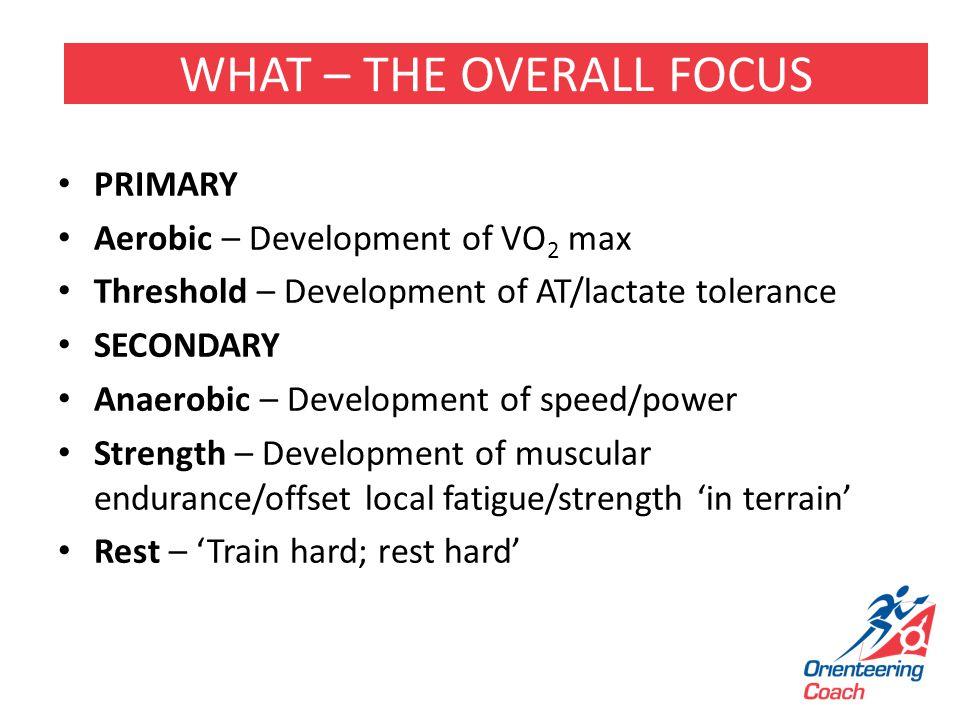 PRIMARY Aerobic – Development of VO 2 max Threshold – Development of AT/lactate tolerance SECONDARY Anaerobic – Development of speed/power Strength –
