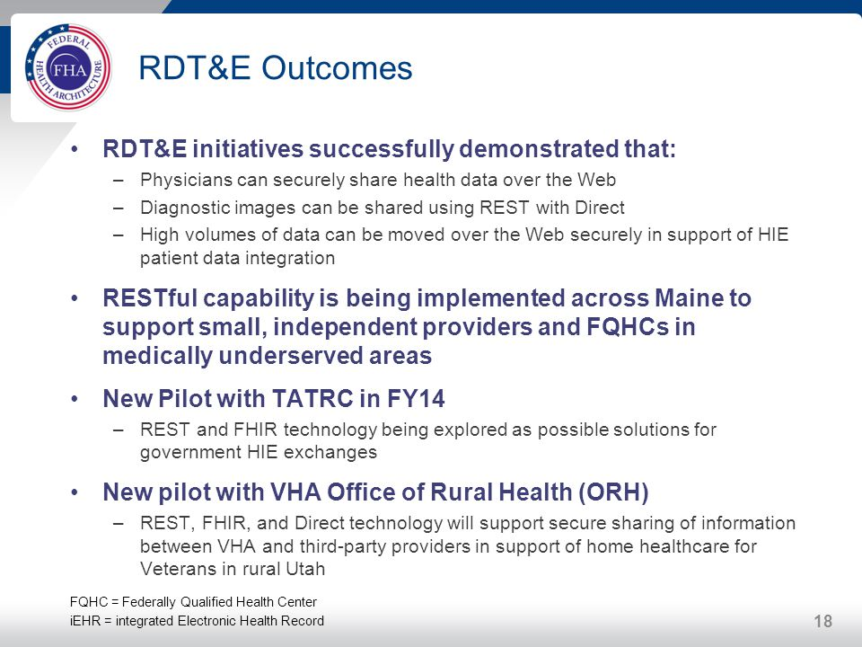RDT&E Outcomes RDT&E initiatives successfully demonstrated that: –Physicians can securely share health data over the Web –Diagnostic images can be sha