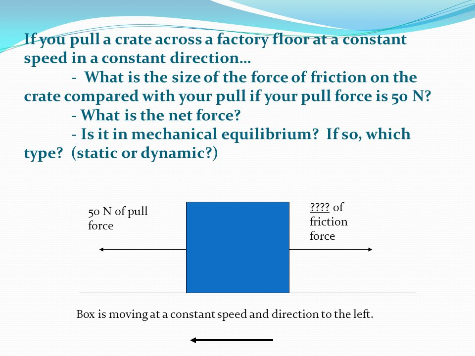 50 N of pull force Box is moving at a constant speed and direction to the left. ???? of friction force