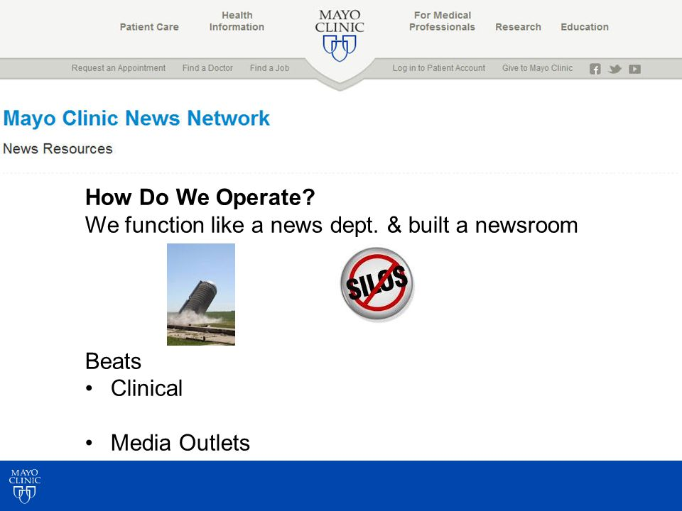 How Do We Operate? We function like a news dept. & built a newsroom Beats Clinical Media Outlets