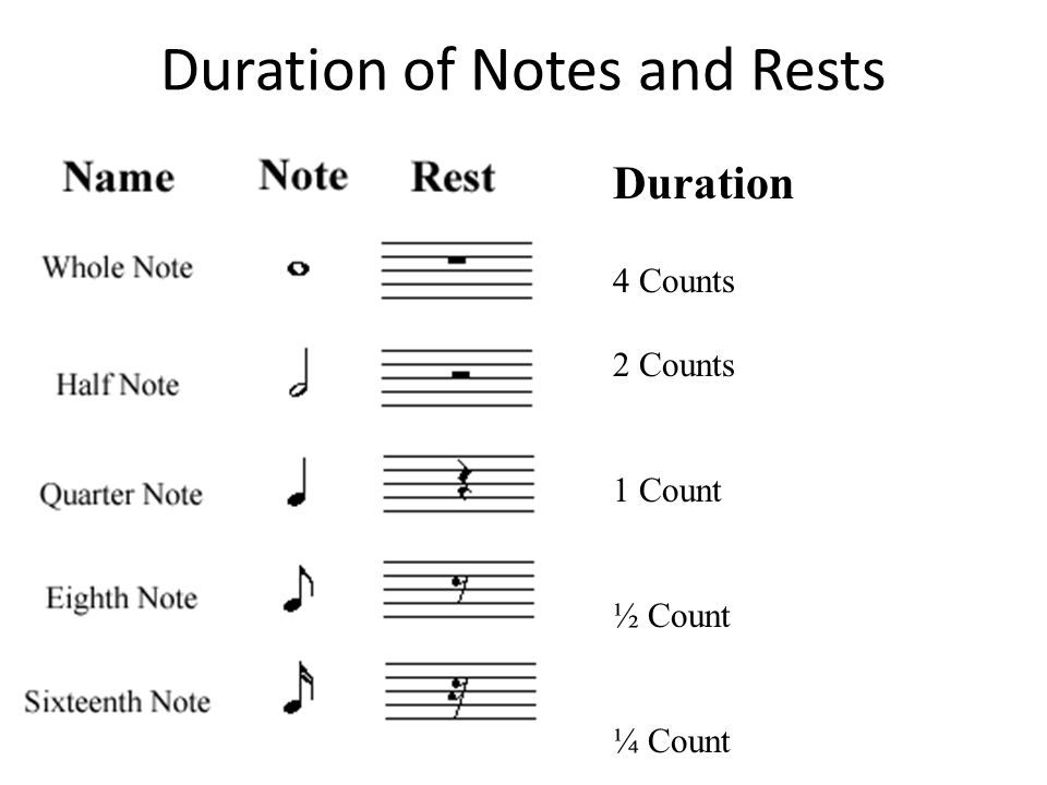 Duration of Notes and Rests Duration 4 Counts 2 Counts 1 Count ½ Count ¼ Count