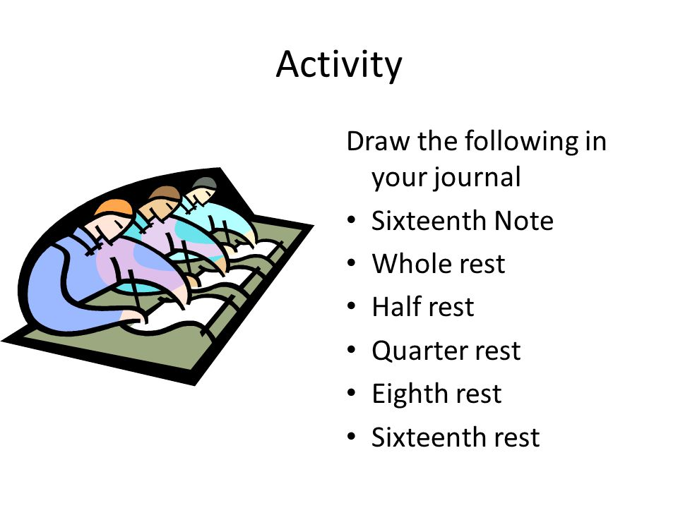 Activity Draw the following in your journal Sixteenth Note Whole rest Half rest Quarter rest Eighth rest Sixteenth rest