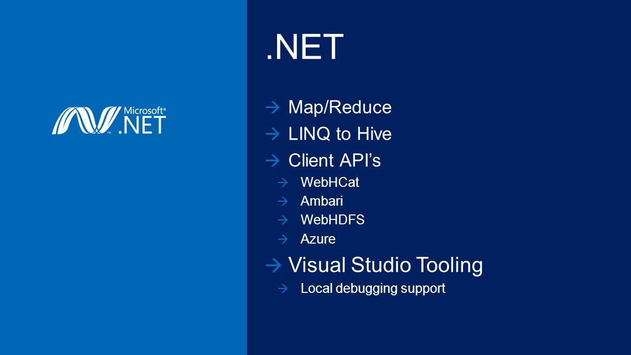 .NET Map/Reduce LINQ to Hive Client APIs WebHCat Ambari WebHDFS Azure Visual Studio Tooling Local debugging support