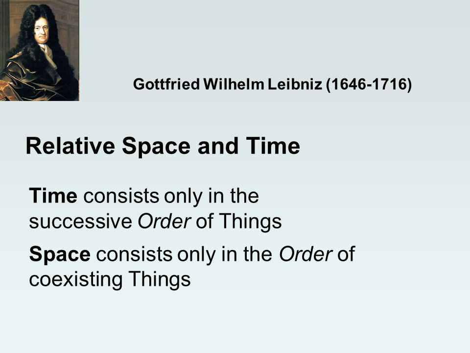 Time consists only in the successive Order of Things Space consists only in the Order of coexisting Things Relative Space and Time