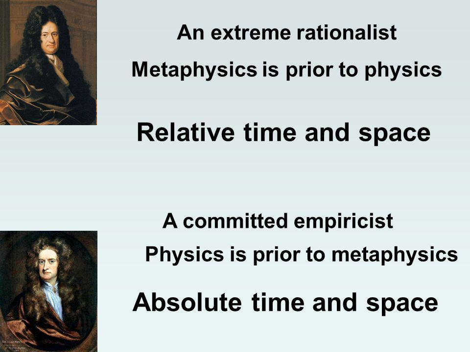 A committed empiricist Relative time and space An extreme rationalist Metaphysics is prior to physics Physics is prior to metaphysics Absolute time and space
