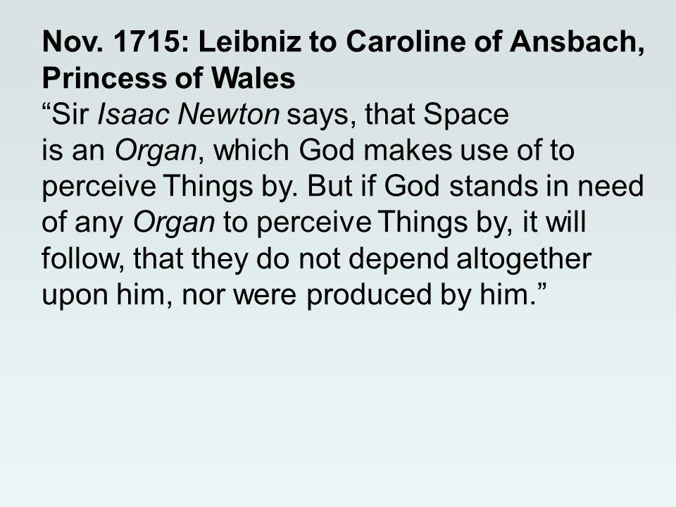 Nov. 1715: Leibniz to Caroline of Ansbach, Princess of WalesSir Isaac Newton says, that Space is an Organ, which God makes use of to perceive Things b
