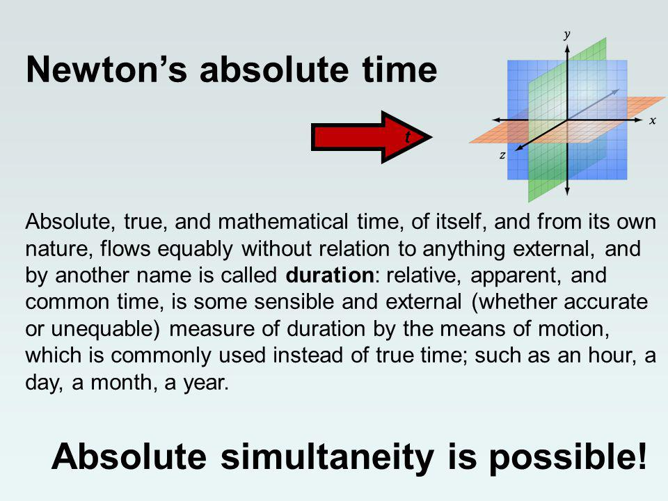 Newtons absolute time t Absolute, true, and mathematical time, of itself, and from its own nature, flows equably without relation to anything external, and by another name is called duration: relative, apparent, and common time, is some sensible and external (whether accurate or unequable) measure of duration by the means of motion, which is commonly used instead of true time; such as an hour, a day, a month, a year.