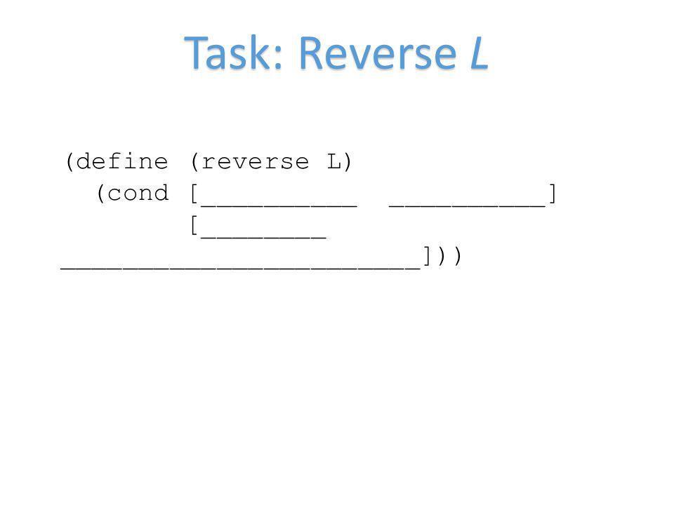 Task: Reverse L (define (reverse L) (cond [__________ __________] [________ _______________________]))