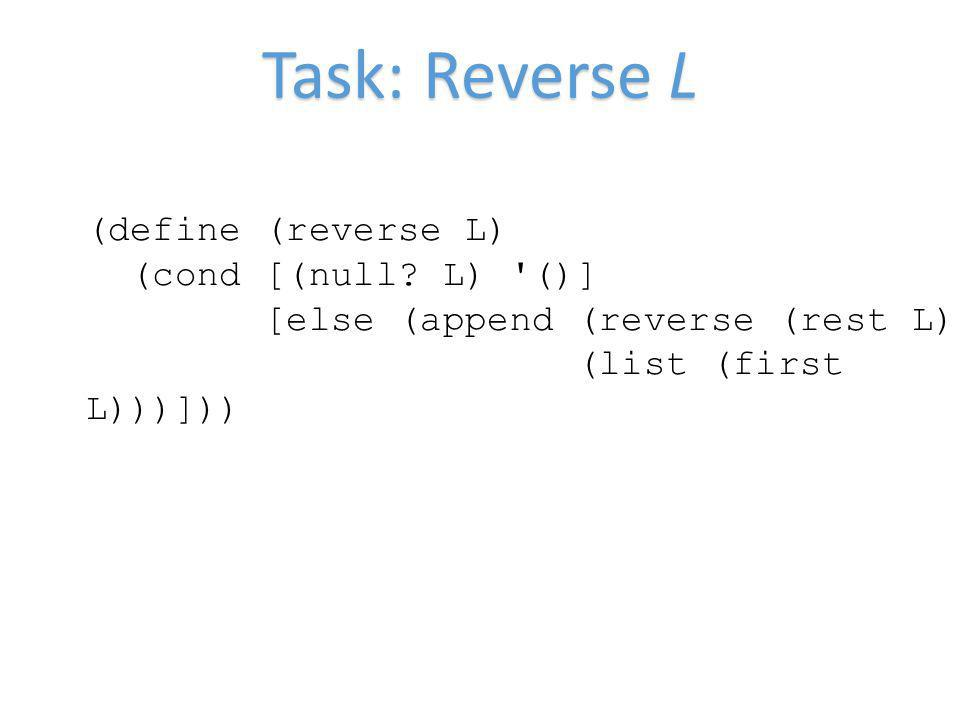 Task: Reverse L (define (reverse L) (cond [(null? L) '()] [else (append (reverse (rest L)) (list (first L)))]))