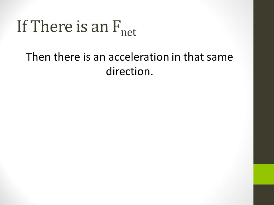 If There is an F net Then there is an acceleration in that same direction.