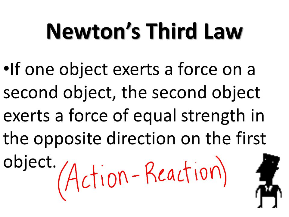Newtons Third Law If one object exerts a force on a second object, the second object exerts a force of equal strength in the opposite direction on the