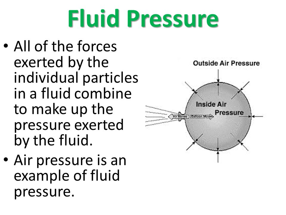 Fluid Pressure All of the forces exerted by the individual particles in a fluid combine to make up the pressure exerted by the fluid. Air pressure is