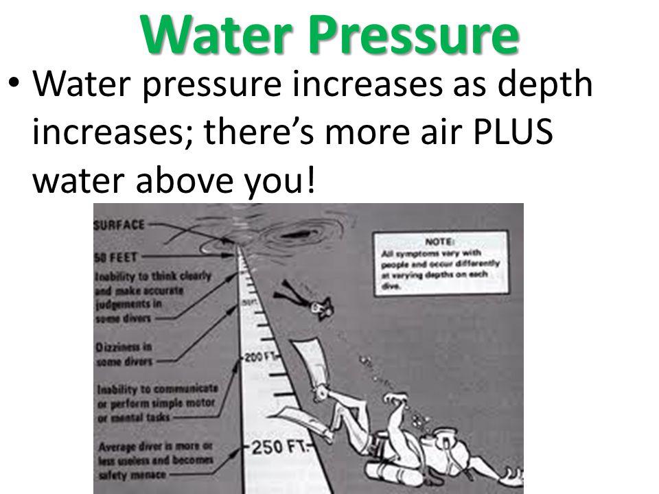 Water Pressure Water pressure increases as depth increases; theres more air PLUS water above you!