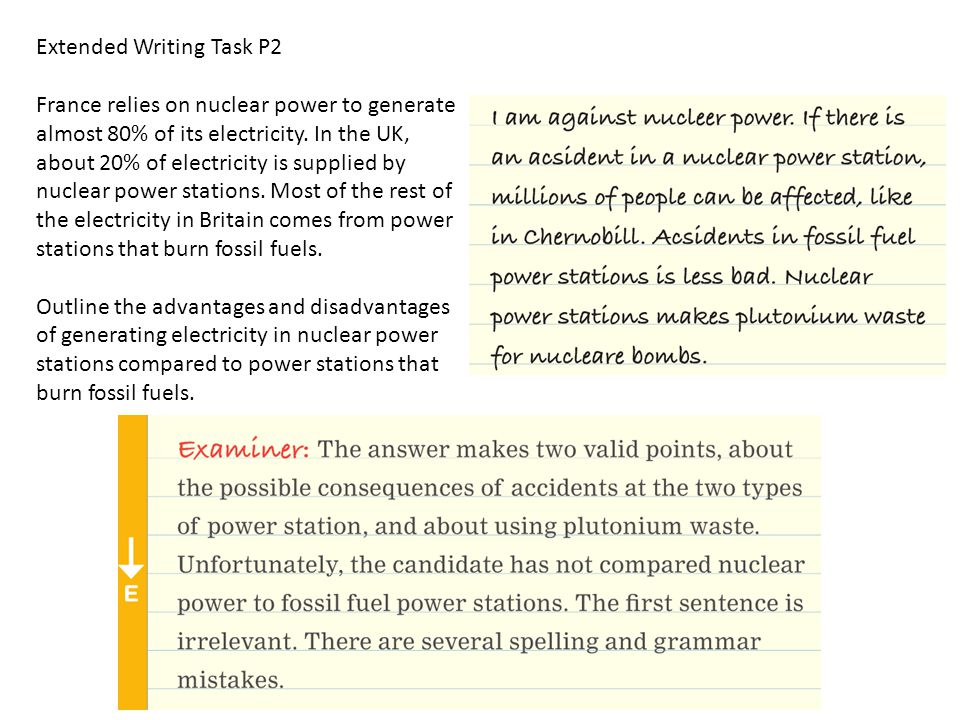 Extended Writing Task P2 France relies on nuclear power to generate almost 80% of its electricity.