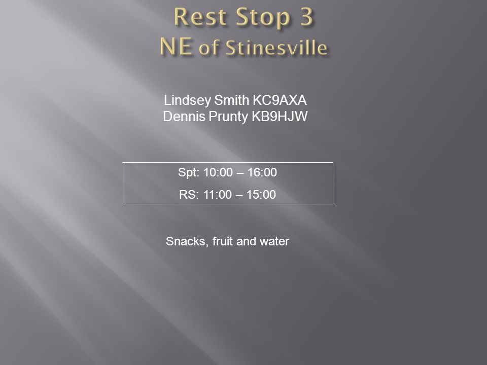 Lindsey Smith KC9AXA Dennis Prunty KB9HJW Snacks, fruit and water Spt: 10:00 – 16:00 RS: 11:00 – 15:00
