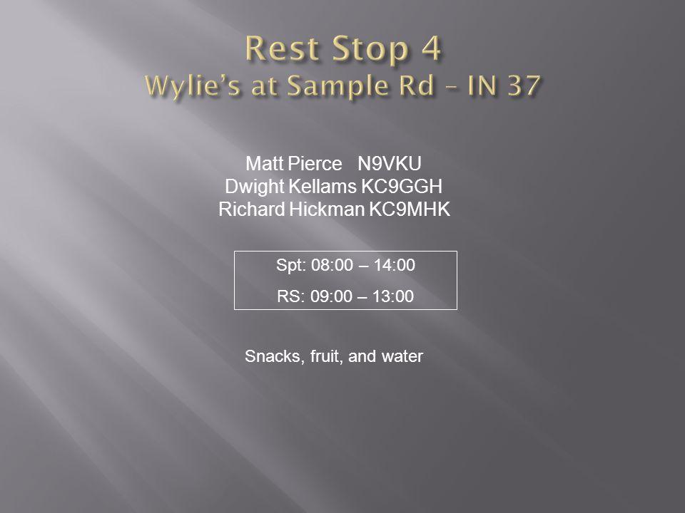 Matt Pierce N9VKU Dwight Kellams KC9GGH Richard Hickman KC9MHK Snacks, fruit, and water Spt: 08:00 – 14:00 RS: 09:00 – 13:00