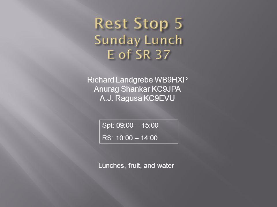 Richard Landgrebe WB9HXP Anurag Shankar KC9JPA A.J. Ragusa KC9EVU Lunches, fruit, and water Spt: 09:00 – 15:00 RS: 10:00 – 14:00