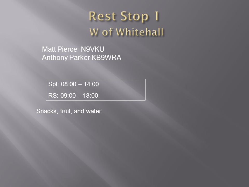 Matt Pierce N9VKU Anthony Parker KB9WRA Snacks, fruit, and water Spt: 08:00 – 14:00 RS: 09:00 – 13:00