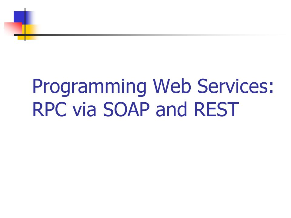 2Service-Oriented Computing RPC via SOAP A Web service is typically invoked by sending a SOAP message to it and receiving a response in the form of another SOAP message The SOAP messages and their contents are not themselves stored anywhere on the Web or accessible Invoking a Web service is like a remote procedure call (RPC) or a database query Hiding content inside SOAP messages means Web machinery for caching and security checks cannot be used