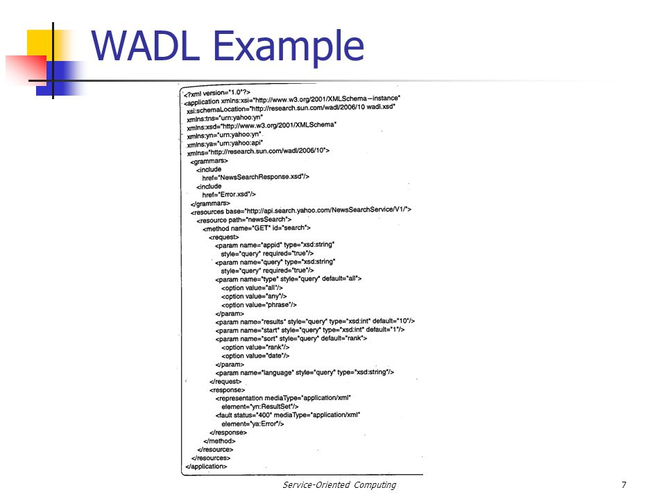 WADL Example 7Service-Oriented Computing