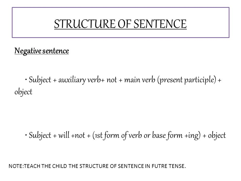 Negative sentence Subject + auxiliary verb+ not + main verb (present participle) + object Subject + will +not + (1st form of verb or base form +ing) + object STRUCTURE OF SENTENCE NOTE:TEACH THE CHILD THE STRUCTURE OF SENTENCE IN FUTRE TENSE.