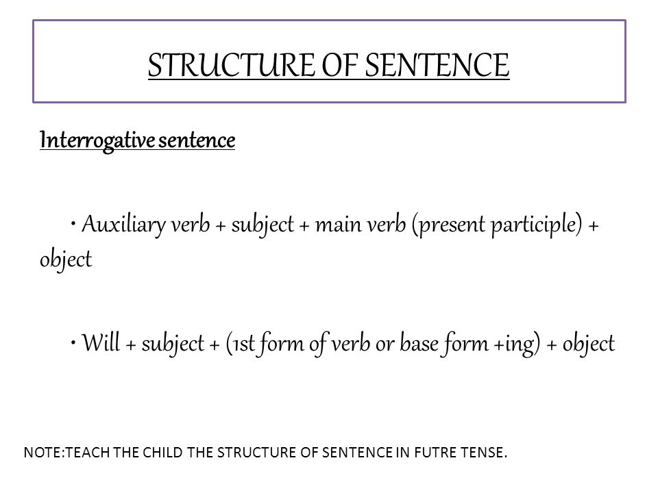 Interrogative sentence Auxiliary verb + subject + main verb (present participle) + object Will + subject + (1st form of verb or base form +ing) + object STRUCTURE OF SENTENCE NOTE:TEACH THE CHILD THE STRUCTURE OF SENTENCE IN FUTRE TENSE.